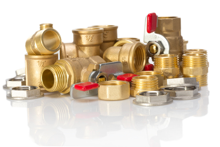 threaded: brass fittings for plumbing pipe thread isolated on white background