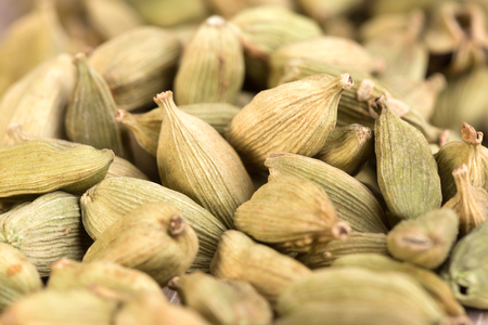 True or green cardamom pods spice from India Stock Photo