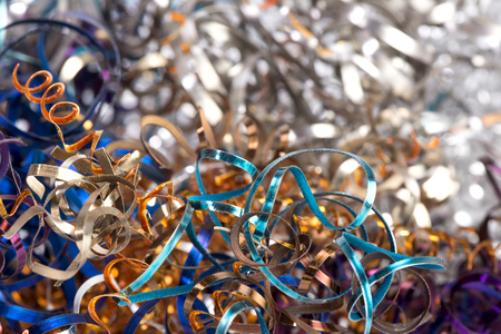 swarf: color shavings after turning - abstract industrial background Stock Photo