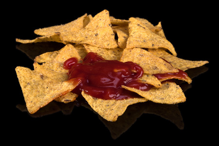 Nachos with tomato spicy sauce is a snack from northern Mexico