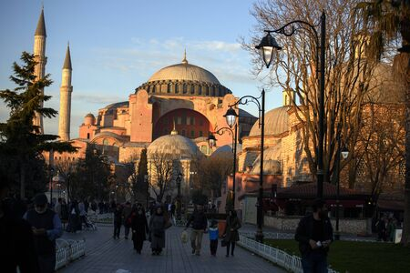 Hagia Sophia. Istanbul. tourist attractions of Turkey. Sunset Standard-Bild - 138120049