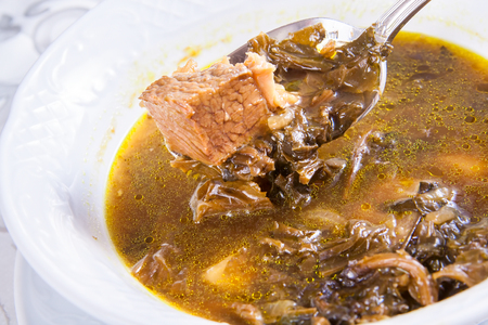 armenian: Armenian soup with meat Stock Photo