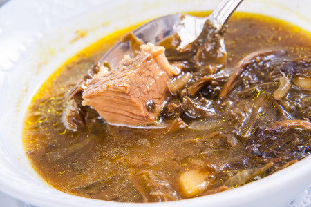 armenian: Armenian soup with meat Stock Photo