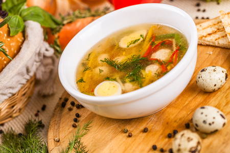 Soup with chicken meatballs, vegetable and quail eggs Zdjęcie Seryjne