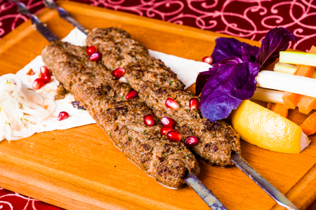 Kebabs on skewers with pita bread. Georgian cuisine