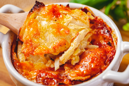 Celery root gratin with cheese and mushrooms. Close up Zdjęcie Seryjne