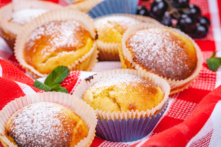 Homemade muffins with raisins and cheese. Close up