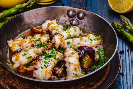 Pan-seared octopus with roasted potato