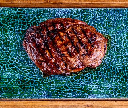 Beef rib-eye steak. Close up Standard-Bild