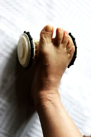 better living: Health, fitness, and feet, white background Stock Photo