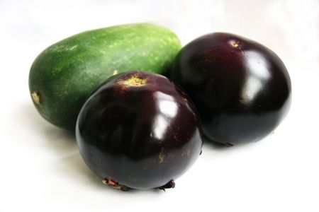Wax gourd, eggplant, black, green, vegetables photo
