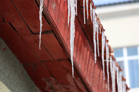 frozen ice on eaves