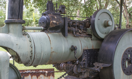 steam roller: Old steam roller used in construction. Stock Photo