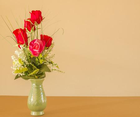 roses in vase: Beauty blooming roses in vase.