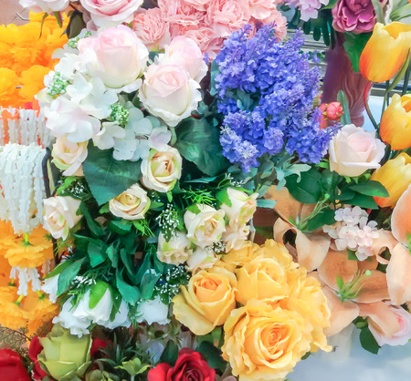 beauty shop: Artificial beauty flower made from fabric in flower shop. Stock Photo