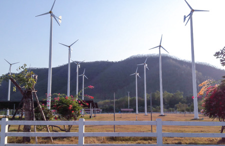 clean energy: Wind turbine farm,one kind of clean energy from nature to save world Stock Photo