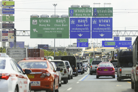 express lane: Bangkok, THAILAND - 2015 July 4: The traffic jam at Tollway Pass in Bangkok, THAILAND on July 4, 2015.