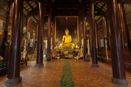 thai temple: Golden buddha statue in the temple.