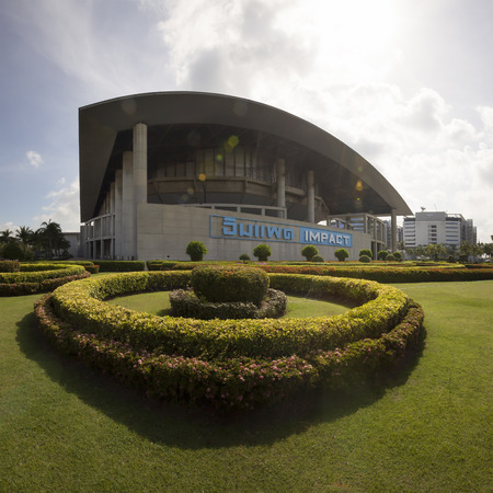 thani: Nonthaburi, Thailand - August 16, 2015: Exterior view of the Impact arena convention hall. at Muang thong thani in Nonthaburi, Thailand.
