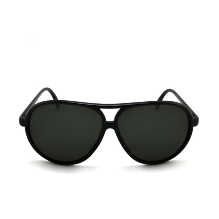 sunglasses reflection: Black sunglasses on a white background isolated with reflection and transparency. Stock Photo