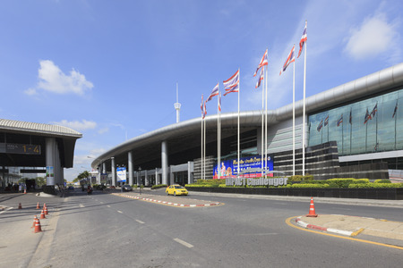 the exhibition hall: Nonthaburi, Thailand - August 16, 2015: Exterior view of the Impact Challenger Exhibition and Convention Center at Muang thong thani in Nonthaburi, Thailand.
