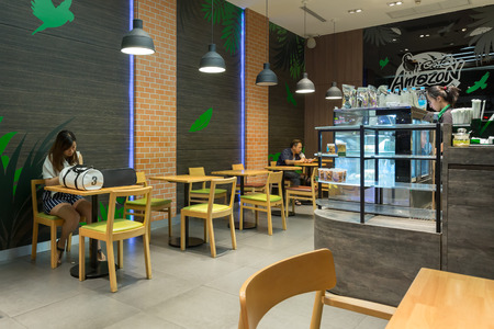 starbucks coffee: Nonthaburi, Thailand - September 7, 2015: Interior view of Cafe Amazon coffee shop where is a famous franchise coffee house in Thailand.
