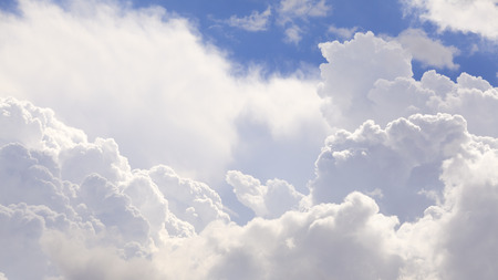 cumulus: The vast cumulus clouds and blue sky.