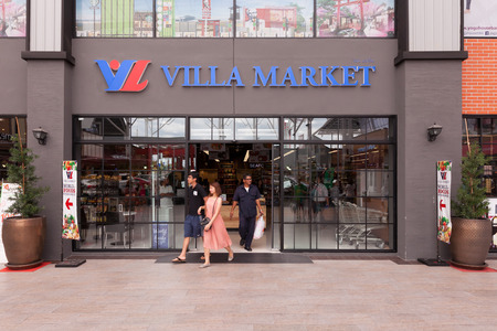 distributor: BANGKOK, THAILAND - AUGUST 29, 2015: Exterior view of Villa market. The Villa Market is Thailands largest imported food distributor and supermarket chain with over 35 stores in Thailand.