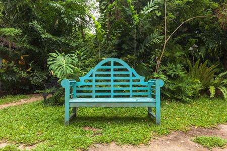 garden lawn: Wooden Chair in Garden Park.
