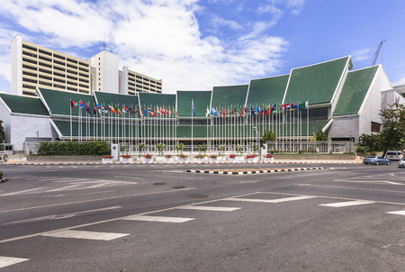 nations: BANGKOK , THAILAND - July 3, 2015: United Nation ESCAP. United Nation ESCAP is located in Bangkok, one of the five regional commissions of the United Nations Economic and Social Council.