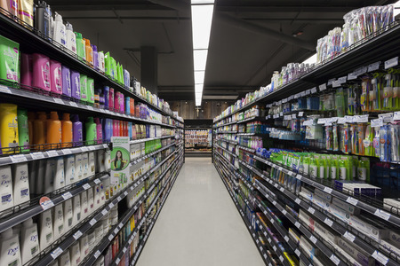 distributor: BANGKOK, THAILAND - August 29, 2015: Aisle view of the Villa Market. The Villa market is the largest imported food distributor and supermarket chain with over 35 stores in Thailand.