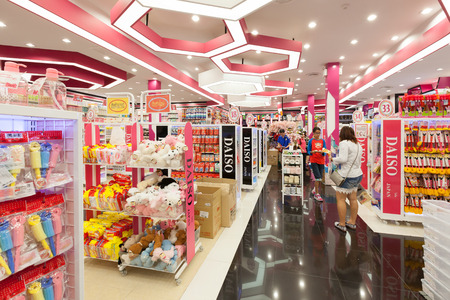 Bangkok, Thailand - August 29, 2015: Interior view of a Daiso shop on August 29, 2015, Daiso is the largest franchise of 100-yen-shops  with 2500 stores in Japan and 522 overseas.