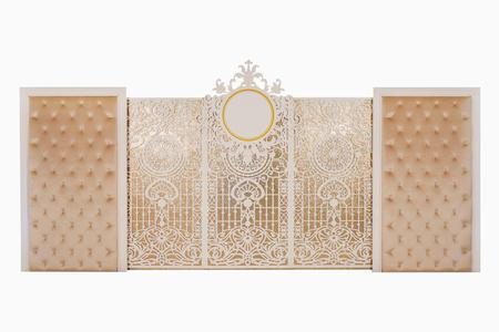 wedding backdrop: Luxury backdrop wedding on isolated white background.