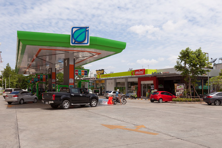 petrol station: Bangkok, Thailand - July 26, 2015: Bangchak Petroleum Public Company Limited, Oil Gas Station in Thailand.