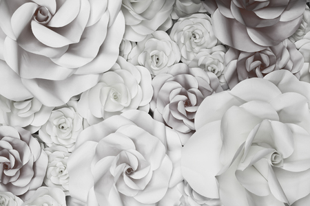 white textured paper: Flower Paper Wedding Backdrop background and Texture. Stock Photo