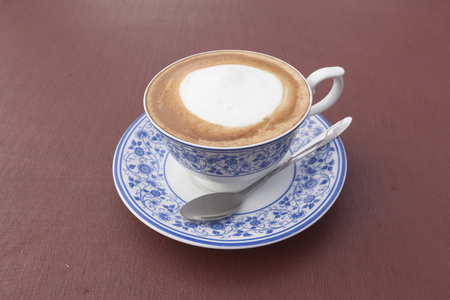 thai painting: cappuccino coffee with Thai Painting cup.