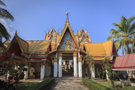 wiwekaram: One of the impressive buildings of Wat Wang Wiwekaram in Sangkhla Buri, lovely surrounded by a green garden. Stock Photo