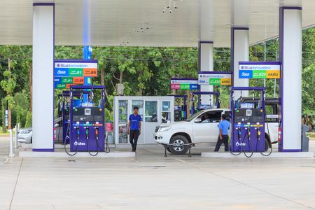 Kanchanaburi, Thaïlande - 28 juillet 2015: La station d'essence.