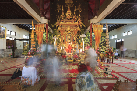 horozontal: Sangkhlaburi, Thailand - July 28, 2015: Monk Sculpture in the Wang Wiwekaram temple. Editorial