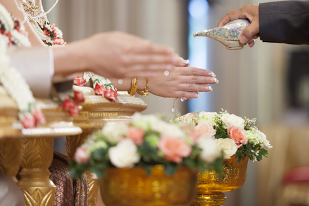 thai culture: Thai wedding ceremony culture marriage. - (Selective focus) Stock Photo