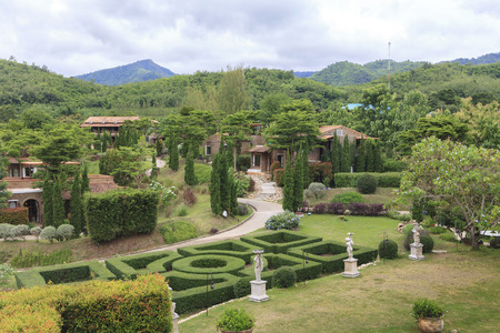 ratchaburi: Ratchaburi, Thailand - August 3, 2015: The La Toscana Resort. a small village that has beautiful landscape and rich artistic legacy which is similar to Tuscany, the concept of resort. Editorial