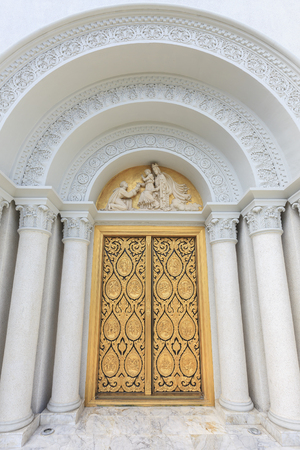 corinthian: Bangkok, Thailand - August 9, 2015: Thai vintage door with Corinthian columns at church of Assumption University, Thailand.