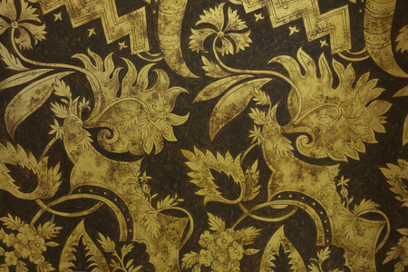 gold textured background: Flowers and Leaves style - antique gold textured stripes background.