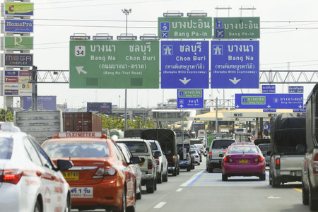 tollway: Bangkok, THAILAND - 2015 July 4: The traffic jam at Tollway Pass in Bangkok, THAILAND on July 4, 2015.