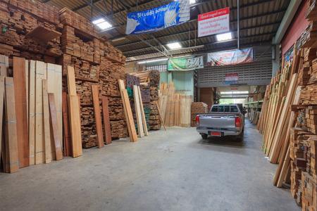 lumber mill: Bangkok, Thailand - September 22, 2015: Industrial Wood Production Factory.