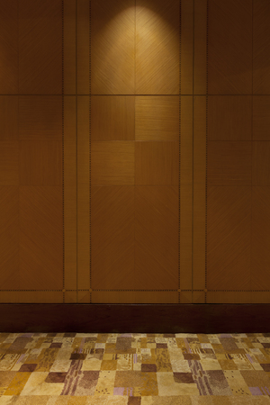 interior lighting: Interior room - Wooden Wall and Carpet with Lighting from Above. Stock Photo