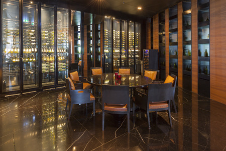 Bangkok,Thailand - July 11, 2015: The District Wine Shop and Restaurant at Bangkok Marriott.Hotel Sukhumvit.