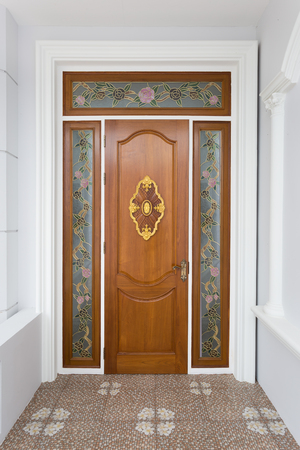 teak wood: Teak wood door with mirror glass - Background.