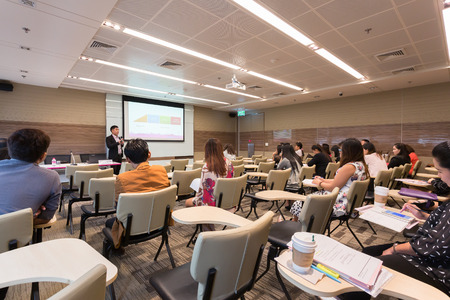 business training: Bangkok, Thailand - October 15, 2015: Peoples participating the business training in conference room. Editorial