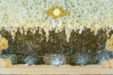 wedding backdrop: Beautiful flowers backdrop for wedding scene.
